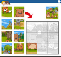 jigsaw puzzle game with comic animal characters