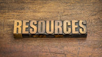 resources word abstract in vintage letterpress wood type