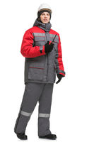 Man in winter workwear and cap isolated view