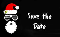 Santa Claus Paper Mask, Black Background, Text Save The Date