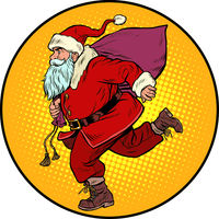 Santa Claus is running. New year and Christmas