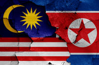 flags of Malaysia and North Korea painted on cracked wall