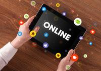 Close-up of a touchscreen, social media concept