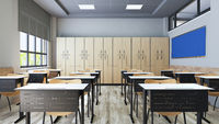 Modern classroom design with modern desk and seat realistic 3D rendering