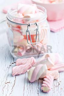 sweet marshmallow in jar