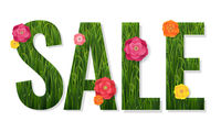Sale Poster And Grass And Flowers