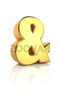 3D Gold Ampersand Sign