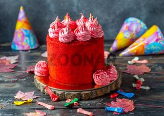 Traditional red velvet sponge cake.