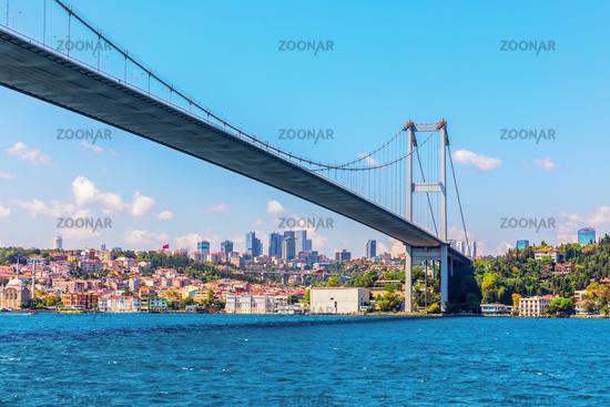 The Bosporus Bridge of Istanbul, bottom view