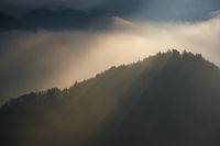 Berchtesgadener Land and mount Watzmann silhouette in contra light view, Germany