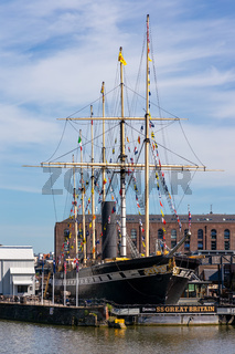 BRISTOL, UK - MAY 13 : View of the SS Great Britain in dry dock in Bristol on May 13, 2019