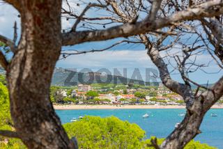 View to Sant Pol beach in the Village of Sant Feliu de Guixols at Costa Brava in Catalonia,Mediterranean Sea,Spain