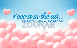 Happy Valentine's day blue congratulation banner with heart shaped clouds, greeting card, invitation flyer with pink heart shaped balloons, vector illustration.