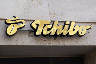 Tchibo logo store sign at local branch of german coffee retail chain