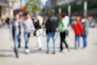 defocused city people