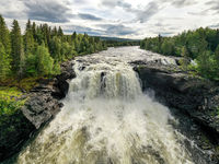 Ristafallet waterfall in the western part of Jamtland is listed as one of the most beautiful waterfalls in Sweden.