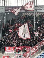 Fanblock vom FSV Zwickau im Punktspiel beim 1.FC Magdeburg DFB 3.Liga Saison 2019-20