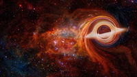 Simulation of a black hole in the space.Elements of this image furnished by NASA