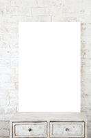 Blank poster against white brick background
