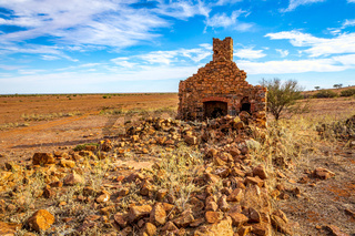 Rural Australia old stone farmhouse in ruins