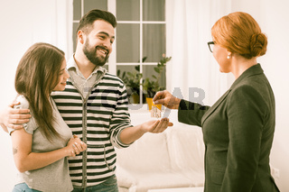 Young family just purchased new apartment