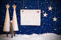 Christmas Tree, Blue Background, Snow, Copy Space, Snowflakes