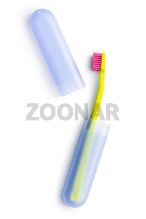 New colorful toothbrush in case.