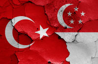 flags of Turkey and Singapore painted on cracked wall