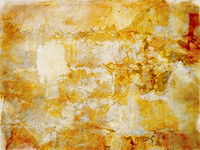 watercolor brightly colored abstract patched painting in different shades of faded stained bright yellow and red paint
