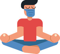 Coronavirus outbreak vector concept. A man in medicine mask sits in a meditation pose at home. Covid-19 virus in air. Staying home with self quarantine. Protect from viruses.