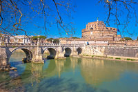 Castel Sant Angelo or The Mausoleum of Hadrian and Tiber river bridge in Rome