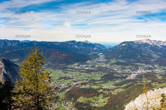 Blick vom Jenner auf das Tal von Schönau und Berchtsgaden am Königssee, Deutschland