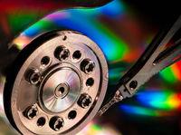 Inside a computer hard drive