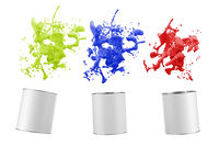 abstract isolated color splash out of paint buckets - 3D Illustration