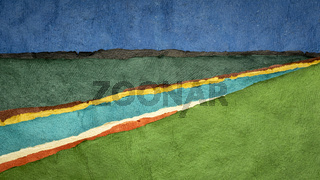 abstract river landscape created with handmade bark paper