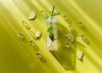 Tall glass of cold mojito