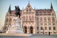 Andrassy Gyula lovasszobra monument before Hungarian paliament building, Budapest.