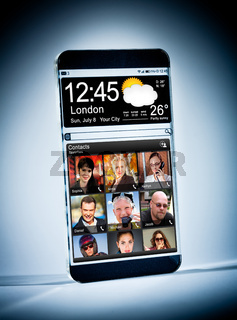 Smartphone with a transparent display.