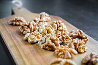 Walnut kernels on a cutting board