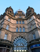 the entrance to Leeds city markets, a historic covered market building in Leeds, west yorkshire