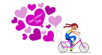Mother's Day - Cute girl on a bike gives her mother a bunch of heart balloons - Card horizontal - Handdrawn illustration