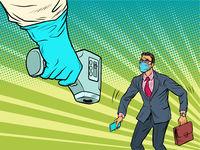 coronavirus test temperature and businessman. Quarantine and health during a viral epidemic