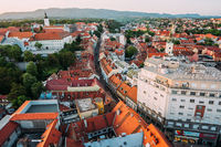 Zagreb Croatia. Aerial View from above of Ban Jelacic Square