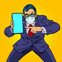 businessman in quarantine recommends online communication