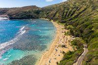 Aerial view of Hanauma Bay nature preserve on Oahu, Hawaii