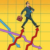 Successful businessman walking forward on growth charts