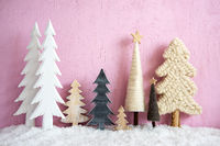 Christmas Trees, Snow, Pink Grungy Wooden Background, Star