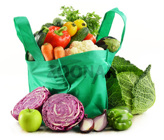 Shopping bag with variety of fresh organic vegetables isolated on white