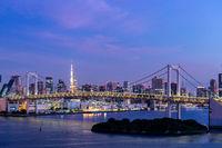 Sunrise Tokyo tower and Rainbow bridge