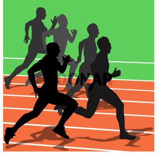 Silhouettes, athletes running in the stadium. vector illustration.